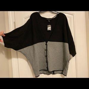 Lane Bryant v-neck button up color block sweater